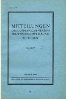 Mitteilungen des Coppernicus-Vereins für Wissenschaft und Kunst zu Thorn. H. 40.