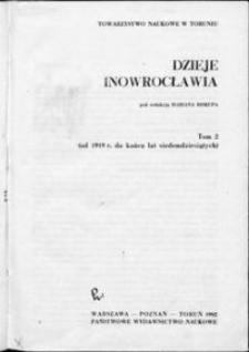 Dzieje Inowrocławia. T. 2, (Od 1919 r. do końca lat siedemdziesiątych)