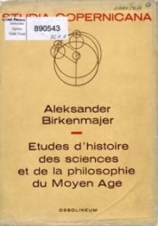 Études d'histoire des sciences et de la philosophie du Moyen Âge