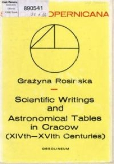 Scientific writings and astronomical tables in Cracow : a census of manuscript sources (XIVth-XVth centuries)