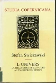 L'univers la philosophie de la nature au XVe siècle en Europe