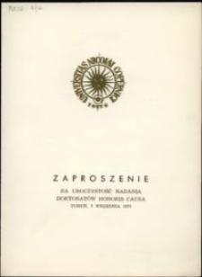 Zaproszenie na uroczystość nadania doktoratów honoris causa [7 września 1973]