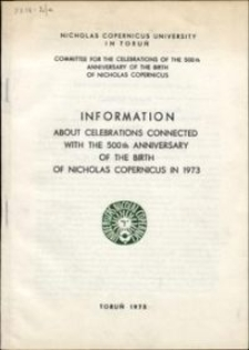 Information about celebrations connected with the 500th anniversary of the birth of Nicholas Copernicus in 1973