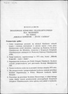 """Regulamin Światowego Konkursu Filatelistycznego dla młodzieży na temat """"Mikołaj Kopernik – życie i dzieło"""""""