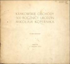 Krakowskie obchody 500. rocznicy urodzin Mikołaja Kopernika : do użytku wewnętrznego : 17 grudnia 1973