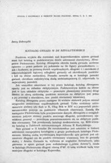 Katalog gwiazd w De Revolutionibus