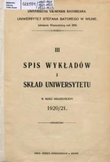 Spis Wykładów i Skład Uniwersytetu w roku akademickim 1920-1921, 3