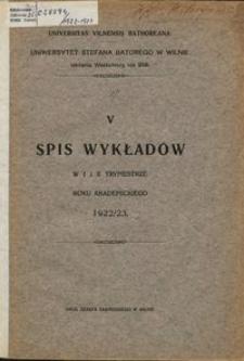 Spis Wykładów w 1 i 2 trymestrze roku akademickiego 1922-1923, 5
