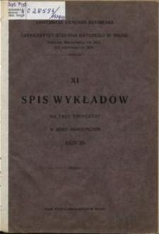 Spis Wykładów na Trzy Trymestry w Roku Akademickim 1928-1929, 11