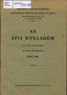 Spis Wykładów na Trzy Trymestry w Roku Akademickim 1937-1938, 20