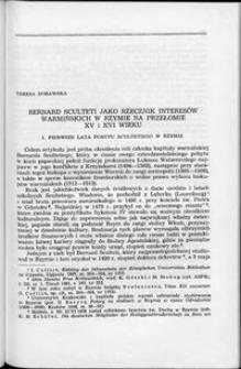 Bernard Sculteti jako rzecznik interesów warmińskich w Rzymie na przełomie XV i XVI wieku