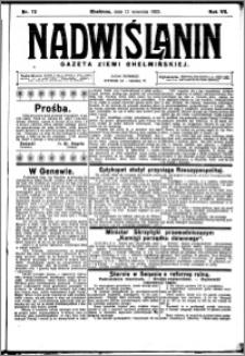 Nadwiślanin. Gazeta Ziemi Chełmińskiej, 1925.09.12 R. 7 nr 72