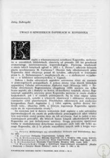 Uwagi o szwedzkich zapiskach M. Kopernika