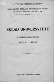 Skład Uniwersytetu w latach akademickich 1927-1928, 1928-1929