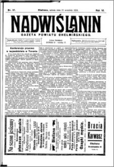 Nadwiślanin. Gazeta Ziemi Chełmińskiej, 1924.09.13 R. 6 nr 37