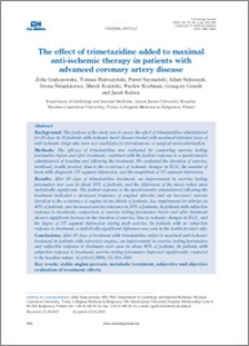 The effect of trimetazidine added added to maximal anti-ischematic terapy in patients with advanced coronary artery disease