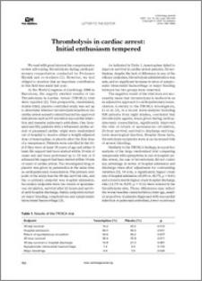 Thrombolysis in cardiac arrest: Initial enthusiasm tempered