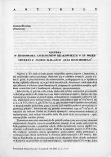Algebra w kręgu astronomów krakowskich XV wieku