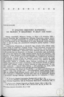 W sprawie obecności Kopernika na sejmiku w Malborku w maju 1529 roku