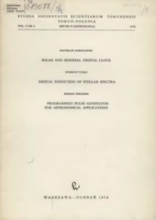 Studia Societatis Scientiarum Torunensis. Sectio F, Astronomia Vol. 5 nr 4 (1974)