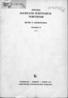 Studia Societatis Scientiarum Torunensis. Sectio F, Astronomia Vol. 6 nr 2 (1979)