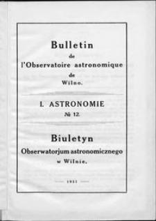 Bulletin de l'Observatoire Astronomique de Wilno. 1 Astronomie T. 1 (19211930)