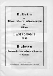 Bulletin de l'Observatoire Astronomique de Wilno. 1 Astronomie T. 2 no 17 (1936)