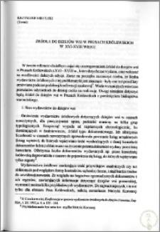 Źródła do dziejów wsi w Prusach Królewskich w XVI-XVIII wieku