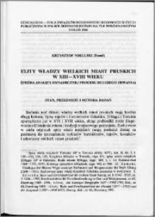 Elity władzy wielkich miast pruskich w XIII-XVIII wieku (Próba analizy dynamicznej procesu długiego trwania)