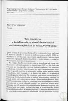 Rola osadnictwa w kształtowaniu się stosunków etnicznych na Pomorzu Gdańskim do końca XVIII wieku