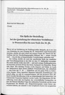 Die Rolle der Besiedlung bei der Gestaltung der ethnischen Verhältnisse in Pommerellen bis zum Ende des 18. jh.