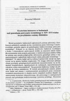 Kryterium imionowe w badaniach nad genealogią patrycjatu toruńskiego w XIV-XVI wieku na przykładzie rodziny Hitfeldów