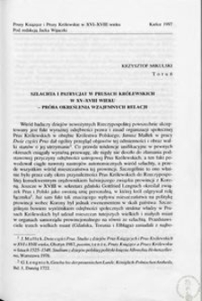 Szlachta i patrycjat w Prusach Królewskich w XV-XVIII wieku - próba określenia wzajemnych relacji