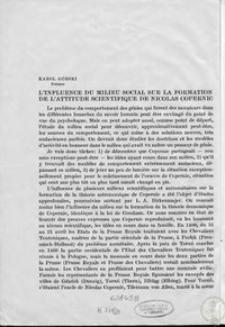 L'influence du milieu social sur la formation de l'attitude scientifique de Nicolas Copernic