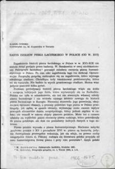 Zarys dziejów pisma łacińskiego w Polsce (od w. XVI)