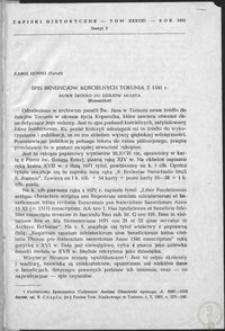 Spis beneficjów kościelnych Torunia z 1541 r. : nowe źródło do dziejów miasta (komunikat)