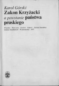 Zakon Krzyżacki a powstanie państwa pruskiego
