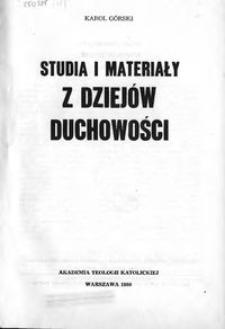 Studia i materiały z dziejów duchowości
