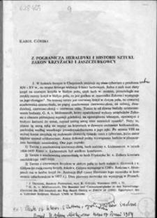 Z pogranicza heraldyki i historii sztuki : Zakon Krzyżacki i Jaszczurkowcy
