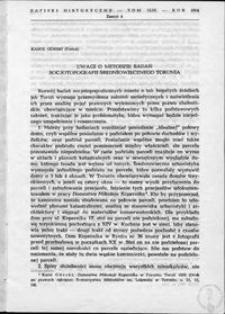Uwagi o metodzie badań socjotopografii średniowiecznego Torunia
