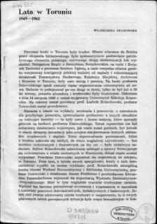 Lata w Toruniu : 1945-1962