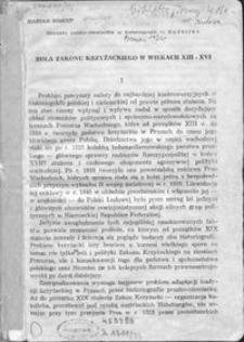 Rola Zakonu Krzyżackiego w wiekach XIII - XVI