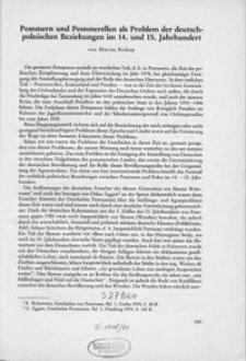 Pommern und Pommerellen als Problem der deutsch-polnischen Beziehungen im 14. und 15. Jahrhundert