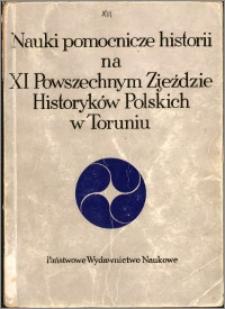 Nauki pomocnicze historii na XI Powszechnym Zjeździe Historyków Polskich w Toruniu