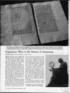 Copernicus' place in the history of astronomy