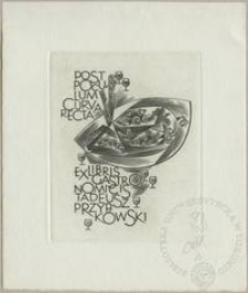 Ekslibris gastronomicis Tadeusza Przypkowskiego - Post poculum curvas recta