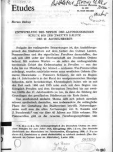 Entwicklung des Netzes der altpreussischen Städte bis zur zweiten Hälfte des 17. Jahrhunderts
