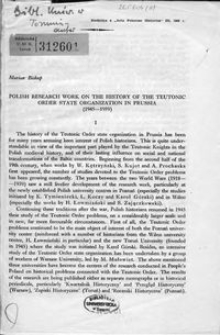 Polish research work on the history of the Teutonic Order State organization in Prussia (1945-1959)
