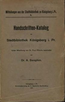 Handschriften-Katalog der Stadtbibliothek Königsberg i. Pr
