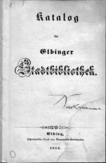Katalog der Elbinger Stadtbibliothek